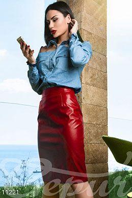 Красная кожаная юбка фото 1