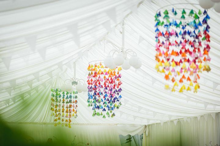Sarah and Jon's Homemade Rainbow Wedding. By  Pixies in The Cellar