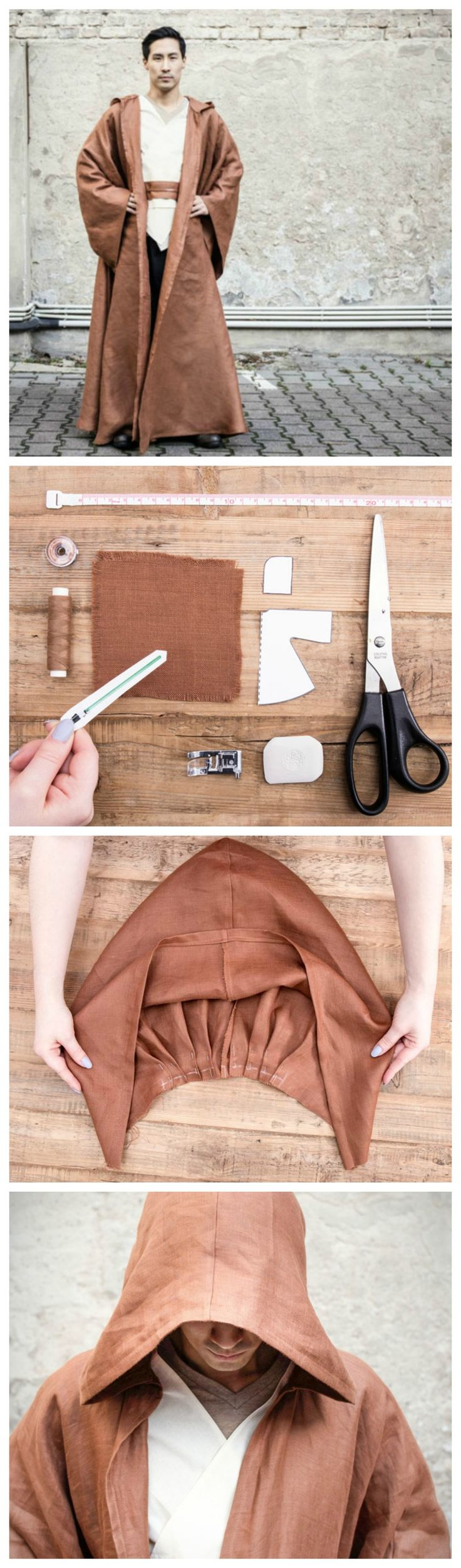 Kostenlose Nähanleitung: Näh Dir Deine eigene Jedi-Robe / free star wars diy tutorial: how to sew a jedi knight cape via DaWanda.com