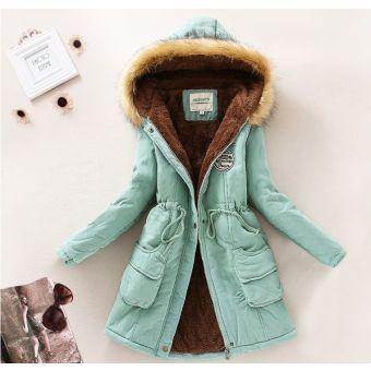 Verde invierno de las mujeres cuello de la piel caliente de la capa de material de abrigo esquimal Outwear chaqueta con capucha Trench