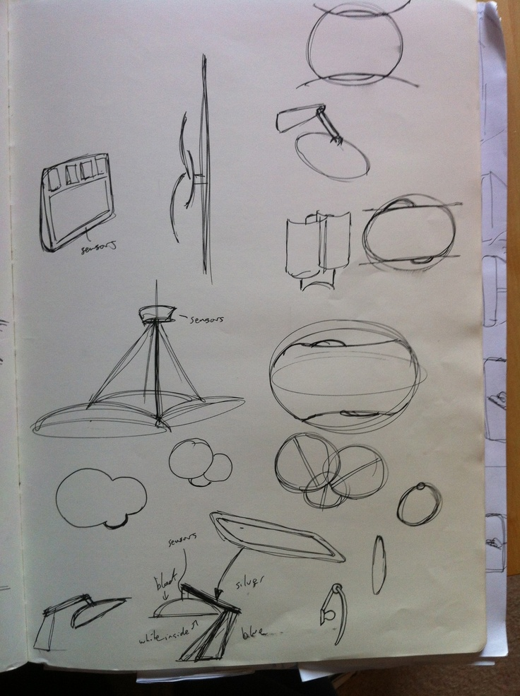 Sketch work - A set of wifi, colour changing lights. My major project, looking at designing a range of products that go better together. By Charlie Jackson http://charliejackson.com