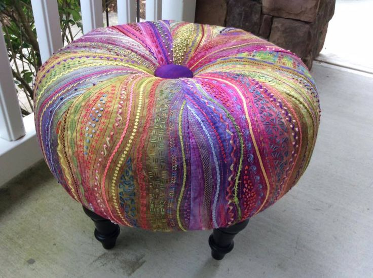"Stupendous stitching on this tuffet by Craftsy class student Sharyn Floriani Coleto.  Hand dye cotton, couched cords, machine decorative stitches, hand embroidery, 18"" Tuffet Pattern by Tuffet Source all made possible by Carol Ann Waugh's Stupendous Stitching Class on Crafsy"