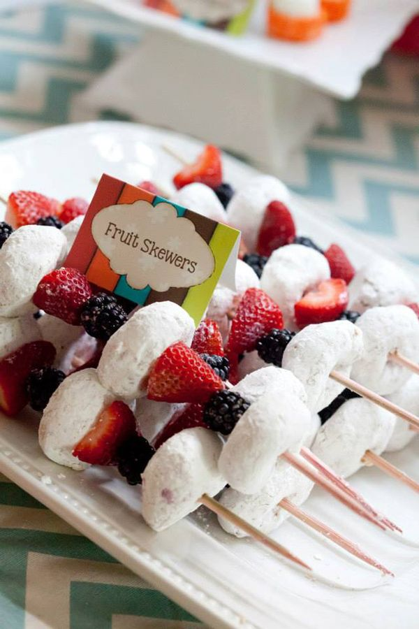 """SERIOUSLY?! At a TWO year old's birthday party there are """"fruit skewers"""" that are 3 blackberries, two strawberry HALVES, and THREE... THREEEEEEE powered sugar donuts? WHAT?!"""