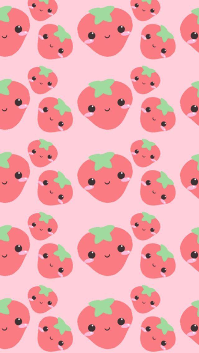 Cute wallpaper strawberry cute kawaii japan illustration repeat pattern digi art print