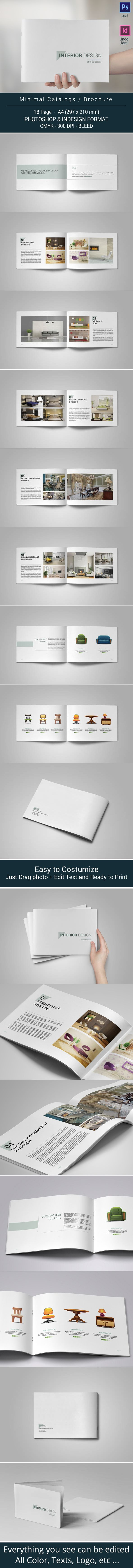 This is 18 page Minimal Portfolio Brochure template is for designers working on interior design catalogues, product catalogues, product/graphic design portfolios and agency based projects. Just drop in your own images and texts, and it's ready to Print.