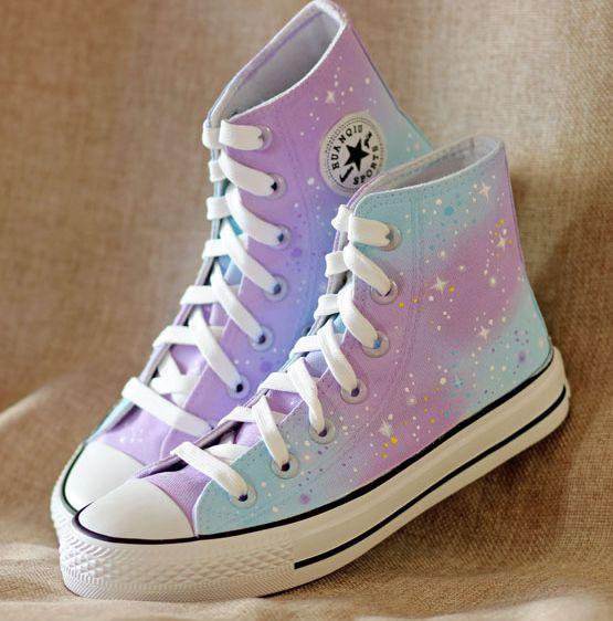 Galaxy harajuku stars canvas pink shoes
