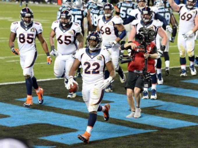 Feb 7, 2016; Santa Clara, CA, USA; Denver Broncos running back C.J. Anderson (22) celebrates after scoring a touchdown against the Carolina Panthers in the fourth quarter in Super Bowl 50 at Levi's Stadium. Mandatory Credit: Robert Hanashiro-USA TODAY Sports Robert Hanashiro, Robert Hanashiro-USA TODAY Sport