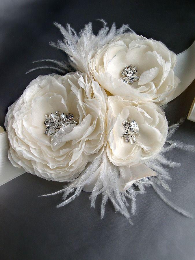 Image of Triple Bloom Hera Gemstone Beaded Feathered Chiffon Flower Sash