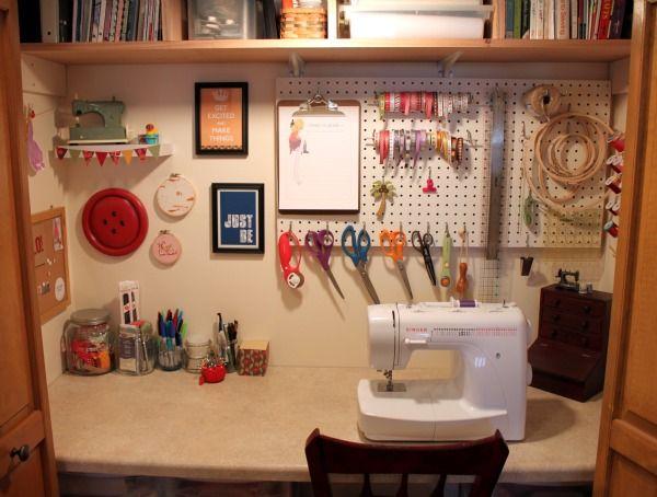 sewing closet ideas: Crafts Closet, Closet Offices, Crafts Area, Crafts Rooms, Sewing Closet, Closet Space, Sewing Rooms, Closet Ideas, Sewing Machine