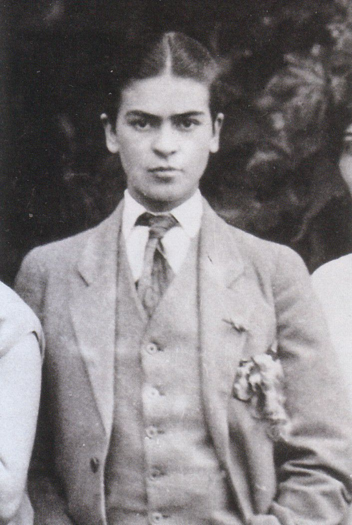 frida kahlo in men's clothing, 1926, taken by her father guillermo kahlo
