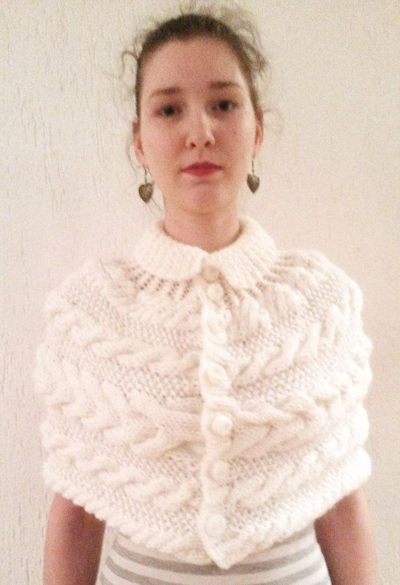Hnd Knitted Woman Poncho/Shrug/caplet White Cables by Giezen, $80.00