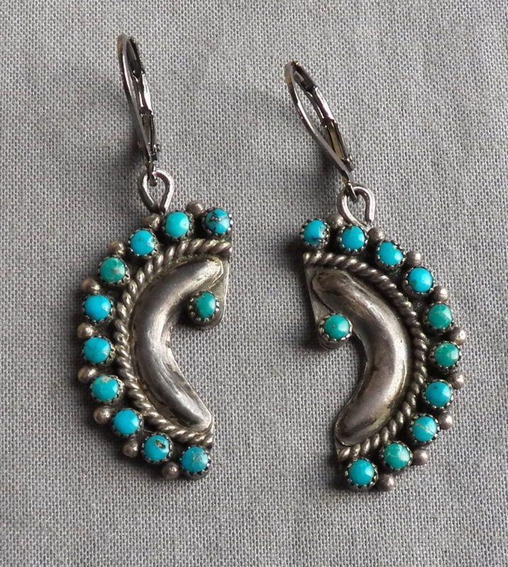 Zuni Earrings: Vintage Drop Dangle Zuni Needlepoint Turquoise Earrings