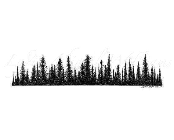 .pine tree line silhouette