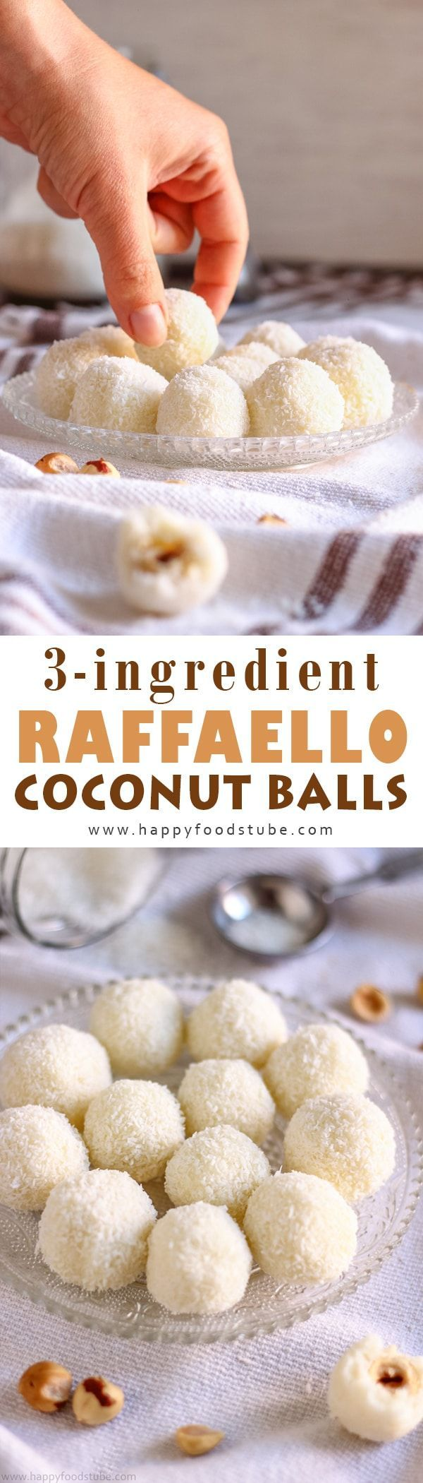 3-Ingredient Raffaello Coconut Balls make the perfect gift for your loved ones. They are no bake & ready in 15 minutes. Family favorite recipe you can make with your kids via @happyfoodstube