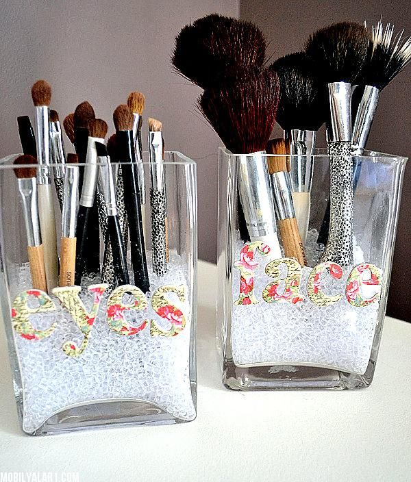 7 DIY Make up Storage Ideas. I like the beads, magnet and roll up bag.: