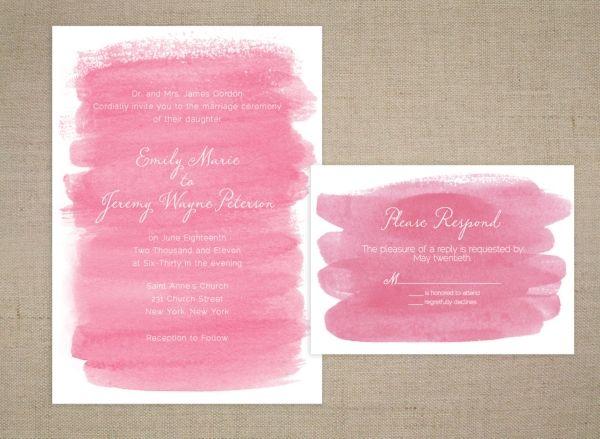 Einladung Hochzeit Wasserfarbe Frieda Theres