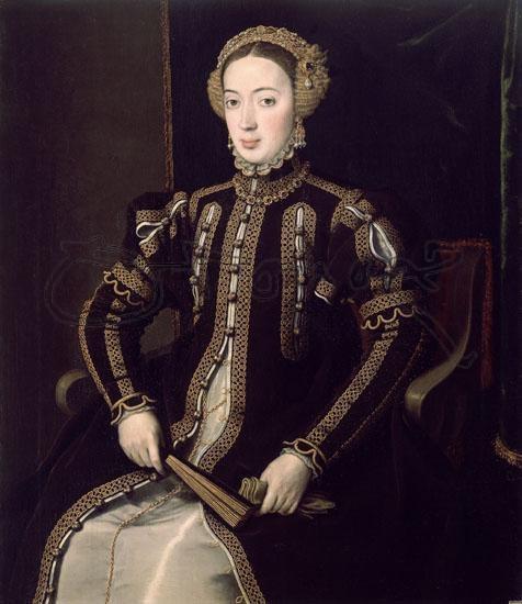 MARIA DE PORTUGAL - 1ª ESPOSA DEL REY FELIPE II - MADRE DE DON CARLOS - PINTADO ENTRE 1550-5 Obra de MORO ANTONIO 1519/1576