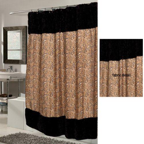 Sable Faux Fur Trim Leopard Print Fabric Shower Curtain U0026 Liner Set  Clearance Sale