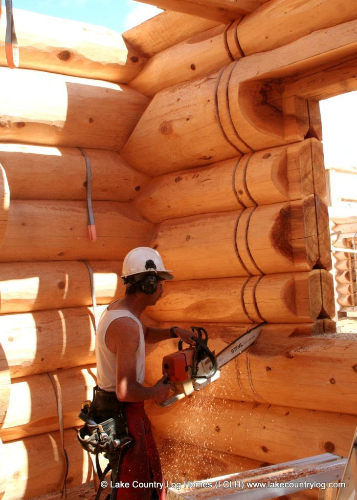 Cutting A Wall Slot For Intersecting Interior Framed In Western Red Cedar Log Home