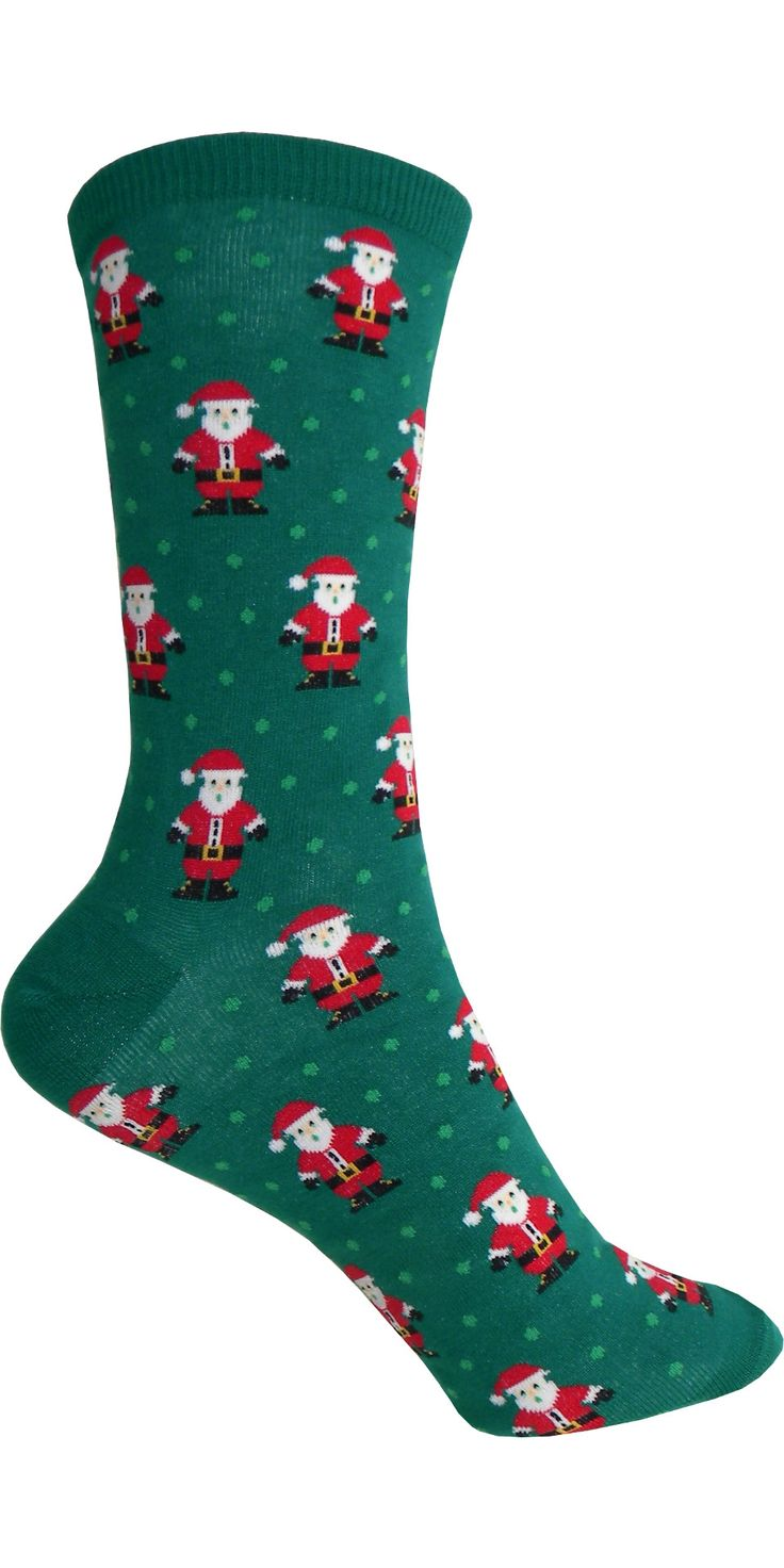 Product Details Check out these Santas playing on your feet. Green holiday socks…