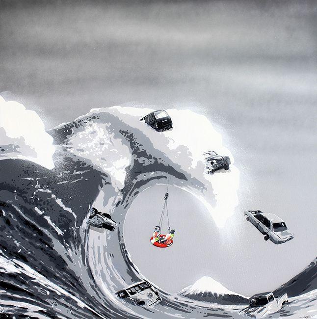 "KURAR street artist artwork named "" THE WAVE (cars)"" more details on ; kurar.fr/#home"