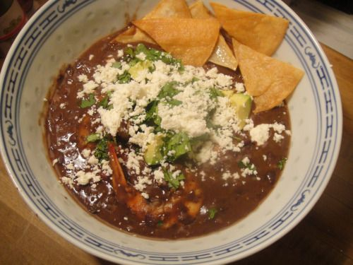 black bean soup from Bayless.  Making this as soon as the bellies in this house are on the mend...