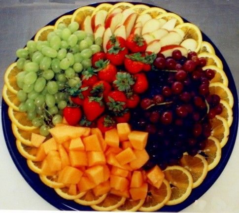 Another fruit tray idea Strawberries                                             •Cantaloupe •Green & Red Grapes •Apples •Oranges •Dip (optional)