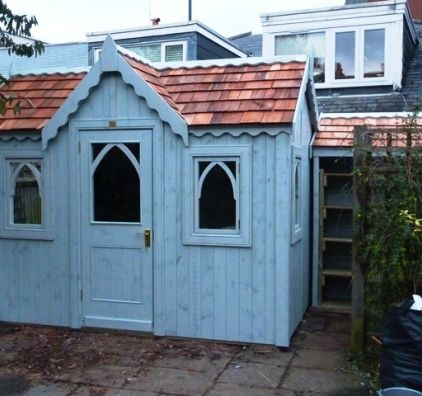 Best Whitewashed Gothic Shed With Cedar Shingle Roof Npl Beautification Pinterest Garden Ideas 400 x 300