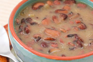 Recipe for Florida Butter Beans (or Lima Beans) Soup with Ham and Cabbage from Kalyn's Kitchen   #LowGlycemicRecipe