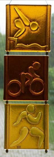 Triathalon, fusion glass, Eleanor Brownridge, glass artist, TurtleCreek Art Glass  $195