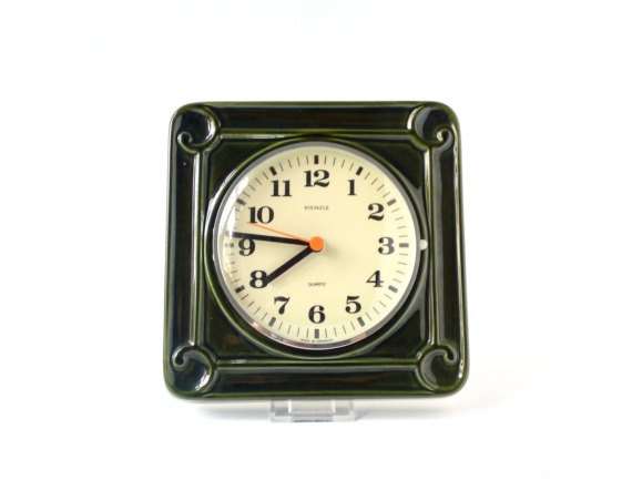 Vintage wall clock West German pottery ceramic emerald dark green Kienzle kitchen office Made in Germany Mid-Century 60s 70s. €65.00, via Etsy.