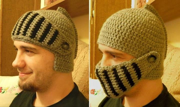 Knight Helmet... Winter Hat Idea I laughed so hard but then thought, huh, that's not a bad idea. Lol