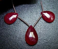 30 Ct Top African Ruby Faceted Almond Drop Loose Focal Bead Pair~3 Pc Set