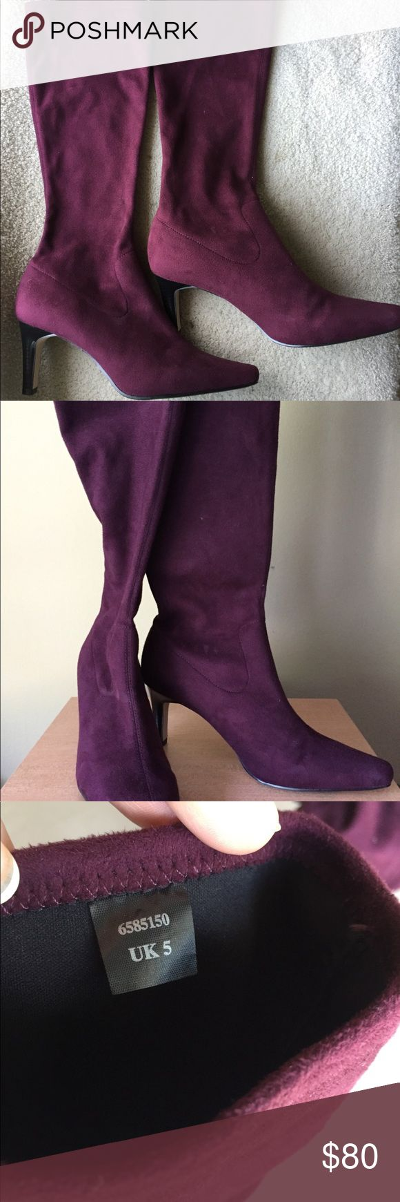"""Women's Suede Stretch Boots knee High Sz 38 M&S Sleek boots by Marks & Spencer Pre-own Like new. Never been used condition Mid heel Mid calf - tall Knee high Faux suede Pull on fastening 3"""" heel- Slim Dark maroon No box Imported  FIT & SIZING Size  EUR 38 . UK 5.  US 7 1/2- 8 ( For reference only. Sizes can varies between brands ) Heel 3"""" Length 9 1/2"""" Width   3""""   Please review all the photos as part of my description. Feel free to contact me for more detailed information, photos. Thank you…"""
