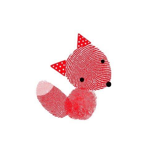 Finger print fox. Too cute!