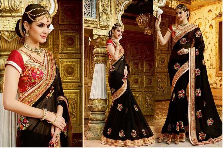 Black Beautiful Indian Wedding Bridal Saree Bollywood Party Wear Pakistani Sari
