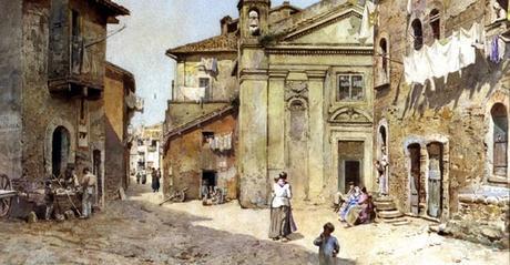 One of so many valuable paintings of a Rome that we no longer know.    Ettore Roesler Franz  Via e Chiesa di S. Bonosa, dietro la Fortezza degli Anguillara  1888  Watercolor