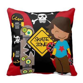 Your child who loves skateboarding will delight in having this Skate Zone Skateboarding pillow as part of their room decor! #cute #kids #childrens #colorful #skate #skateboard #skateboarding #skateboarder #skating #extreme #sports #mojo #pillow