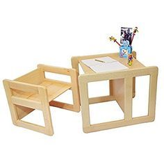 3 in 1 Children's Multifunctional Furniture Set of 2, One Small Chair or Table and One Large Chair or Table Beech Wood, Natural