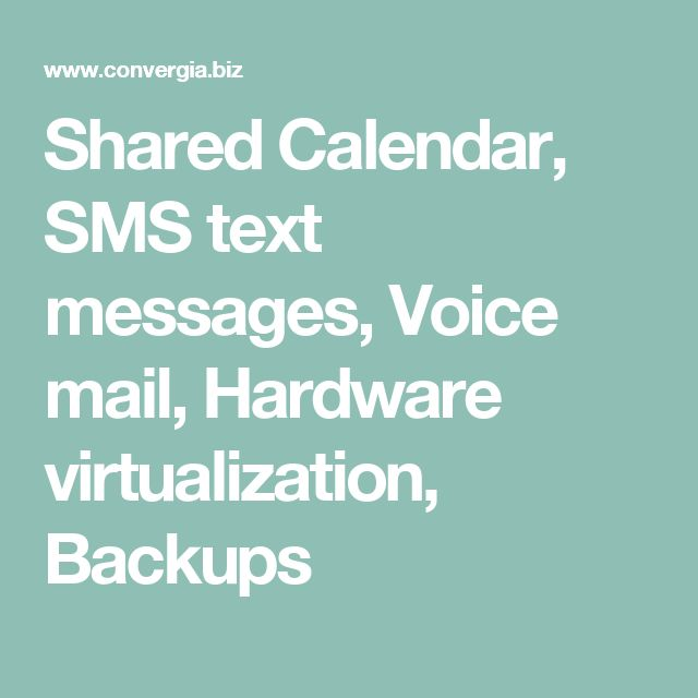 Shared Calendar, SMS text messages, Voice mail, Hardware virtualization, Backups