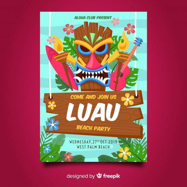 Download Luau Party Flyer For Free Pop Art Print Poster Template Free Party Flyer