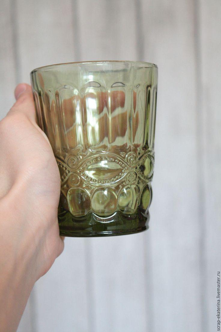 Купить Стакан - оливковый, стекло, стекло цветное, винтаж, винтажный стиль, для кухни, для декупажа, для декора