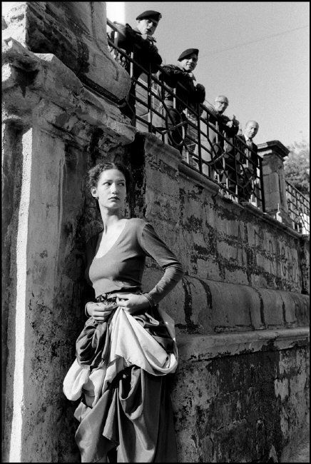 Ferdinando Scianna 1987 ITALY, Sicily, Ragusa, fashion story with Dutch model…