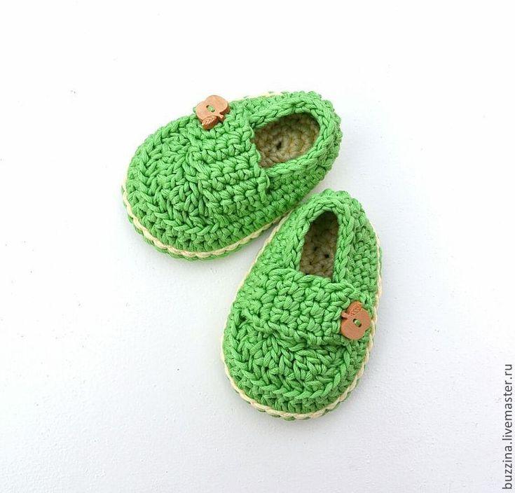 Купить Пинетки для мальчика пинетки мокасины вязаные крючком зеленые - пинетки, вязаные пинетки