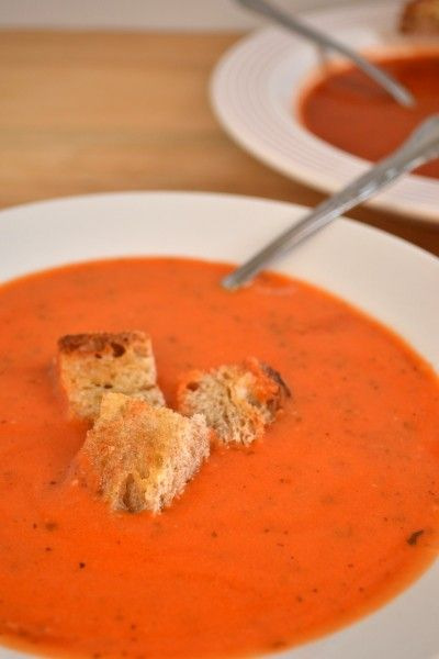 Simple Homemade Tomato Soup - In the past I've made up my own recipe. This turned out better than what I've concocted in the past. We had it without milk and used some diced tomatoes in olive oil and garlic. Yum!