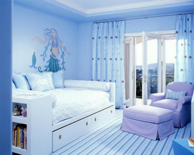 Teens Bedroom, Amazing Design Decorating Ideas With Blue Teenage Girl Room And Puple Sofa And Chair With Furniture Bookshelf Ideas: Exotic A...