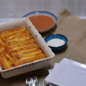 Beef & Bean Enchilada Bake [TheFoodieArmyWife]