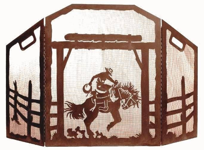 Cowboy Bronc Rider Western Scene Fireplace Screen heavy recycled steel ironwood industries western decor fire screen