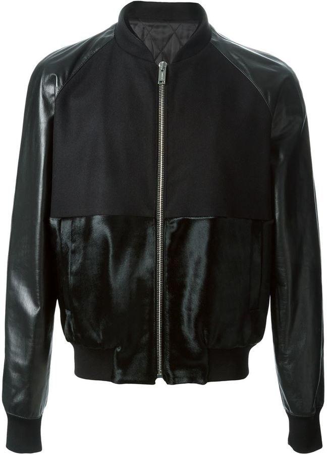 Les Hommes calf hair panel jacket on shopstyle.co.uk