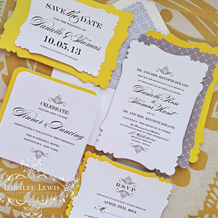 Jacqueline Wedding Collection by Loralee Lewis shown in Yellow and Grey, www.LoraleeLewis.com